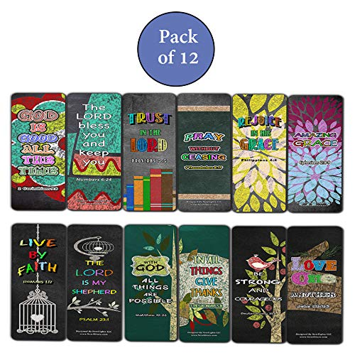 Colorful Bible Verse Chalkboard Bookmarks Cards