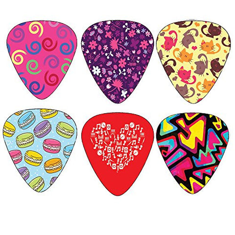 Unique Girly Guitar Picks for Girls Set 12-pack - Medium Size Celluloid