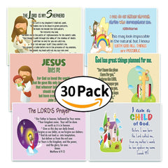 NewEights Christian Postcards for Kids Boys Girls (30-Pack) - Scripture Bible Verses - Psalm 23 - Great Stocking Stuffers for Easter Baptism Thanksgiving Christmas Sunday School - Prayer Cards