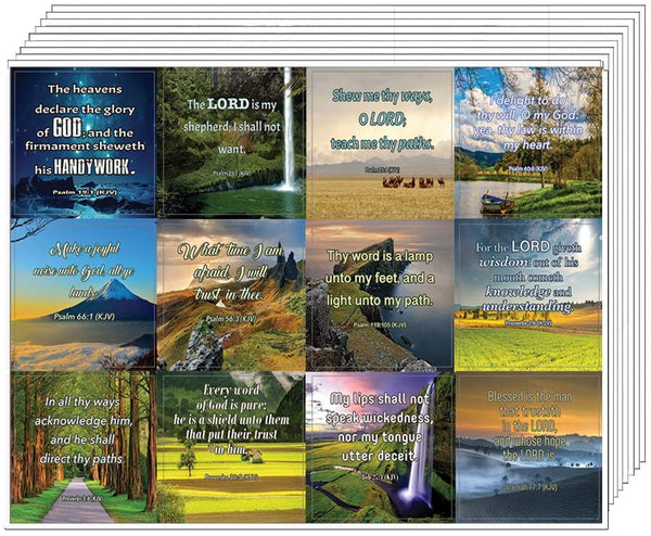 Short Bible Scriptures Stickers (10 Sheets) - Assorted Mega Pack of Inspirational Stickers