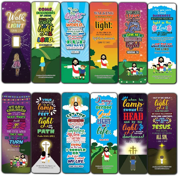 Walk in the Light Bible Verse Bookmarks (30-Pack) - Stocking Stuffers for Boys Girls - Children Ministry Bible Study Church Supplies Teacher Classroom Incentives Gift