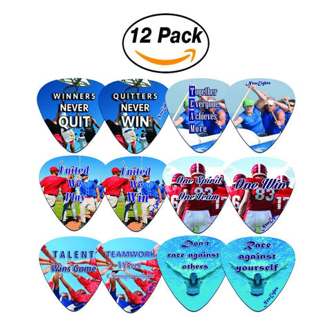 NewEights Sports Inspirational Quotes Guitar Picks (12-Pack)