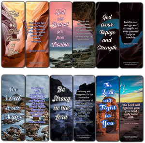 Encouraging Scriptures Bookmarks About God's Protection And Inspire Godly Courage (30-Pack) - Church Memory Verse Sunday School Rewards - Christian Stocking Stuffers Birthday Assorted Bulk Pack