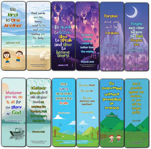 Bible Bookmarks for kids - Character Building Series 1 (60 Pack) - Perfect Gift away for Sunday School and Ministries - Church Memory Verse Sunday School Rewards Bulk Pack