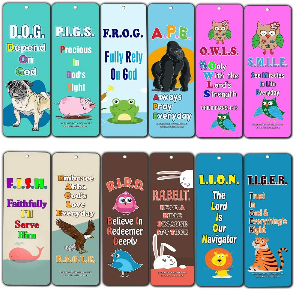Christian Kids Bookmarks Cards Depend on God (30-Pack) - Bible Colorful Bookmarker for Children - Great Stocking Stuffers for Easter Baptism Thanksgiving Christmas Sunday School