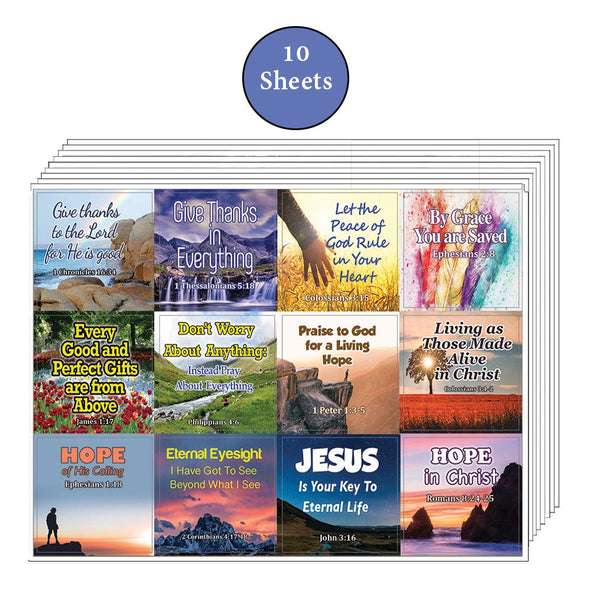 Religious Stickers - Hope and Gratitude (10-Sheet)