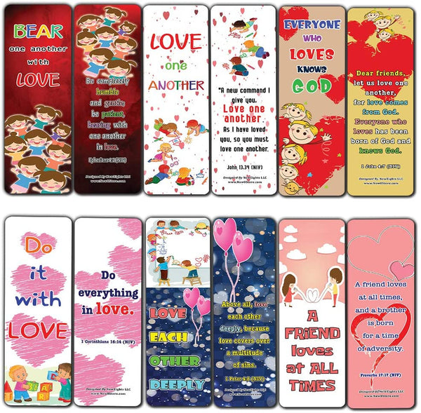Love One Another Bible Verses Bookmarks for Kids (30-Pack) - Daily Memory Verses For Children