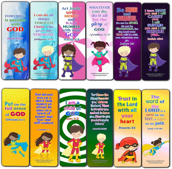 Religious Bookmarks for Kids - Super Hero (60 Pack) - Perfect Gift away for Sunday School and Ministries - Church Memory Verse Sunday School Rewards - Christian Stocking Stuffers Birthday Bulk Pack