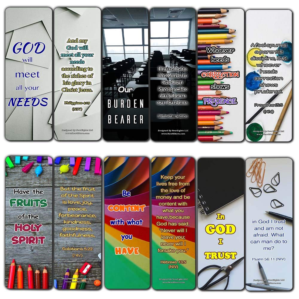 Encouraging Scripture Verses for Back to School Bookmarks