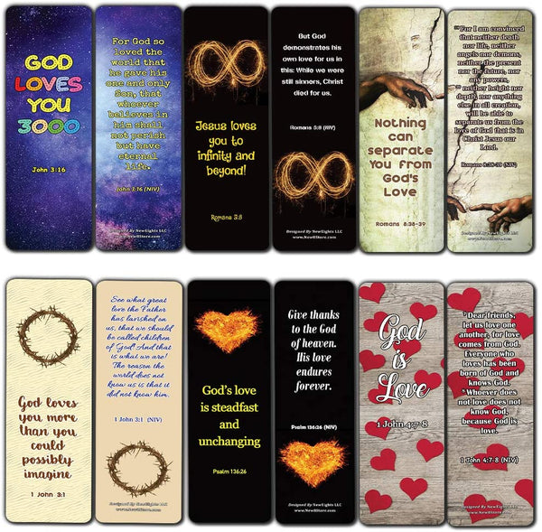 Christian Love You 3000 Bookmarks (30 Pack) - John 3:16 God's Love Jesus Loves You - Stocking Stuffers for Sunday School Homeschooling Birthday Party Favors Ministry Church Supplies