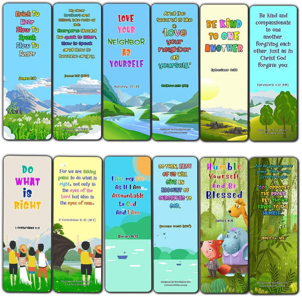 Bible Bookmarks for Kids - Cultivate Good Character (60 Pack) - Perfect Gift away for Sunday School and Ministries - Reverence Bible Texts VBS Sunday School Easter Baptism