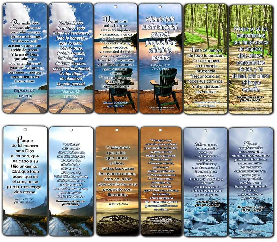 Spanish Christian Bookmarks - Most Highlighted Bible Verses (60 Pack)- Marcadores de Libros Cristianos para hombres para mujeres - Prayer Cards - Religious Christian Gift - Stocking Stuffers