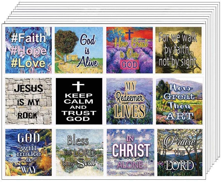 Christian Bible Verses Scriptures Quotes Stickers (10 Sheets) - for Journal Planner Sticky Notes Scrapbooking Party Favors Decor - for Adults Men Women Kids