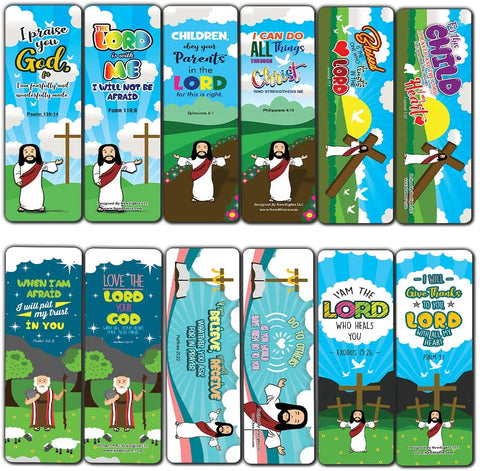 Bible Scriptures Bookmarks Cards for Kids Boys Girls (60-Pack) - Church Memory Verse Sunday School Rewards - Christian Stocking Stuffers Birthday Party Favors Assorted Bulk Pack