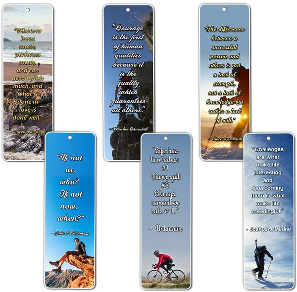 NewEights Adventure Inspirational Quotes Bookmarks Cards (60-Pack) - Gifts Stocking Stuffers for Inspirational Teamwork Team Building Success Sports Adventure Motivation