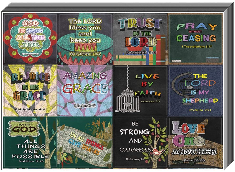 Colorful Bible Verse Stickers (20-Sheet) - Great Giftaway Stickers for Ministries