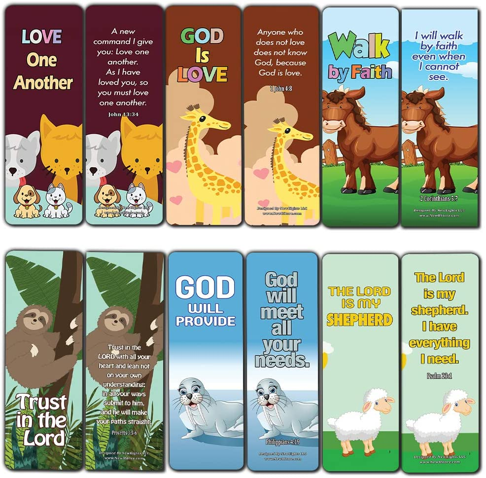 Encouraging Bible Verses Bookmarks for Kids (60-Pack) - Animal Series 2 - Perfect Giveaways for Ministries and Sunday Schools