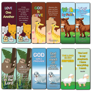 Encouraging Bible Verses Bookmarks for Kids - Animal Series 2