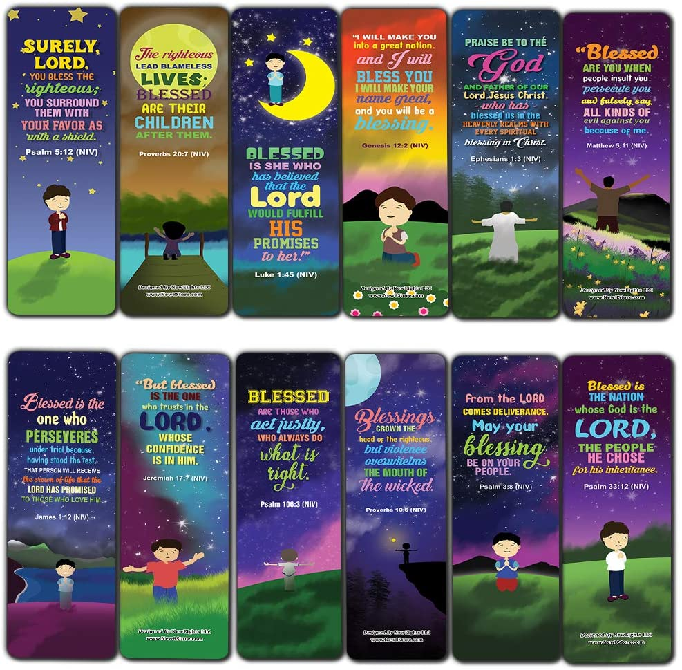 Top Bible Verses about God's Blessings NIV Bookmarks for Men (30-Pack) - Stocking Stuffers for Boys - Children Ministry Bible Study Church Supplies Teacher Classroom Incentives Gift