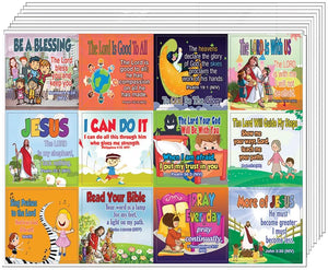 Inspirational Christian Stickers for Kids (5-Sheet) - Stocking Stuffers for Boys Girls - Children Ministry Bible Study Church Supplies Teacher Classroom Incentive Gifts