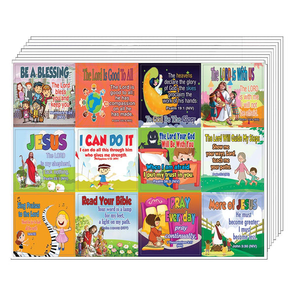 Inspirational Christian Stickers for Kids (10-Sheet)