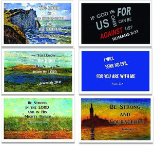 Christian Inspirational Postcards - Be Strong Bible Verse Theme (60-Pack) - Postcrossing Birthday Church Stocking Stuffers for Men Women Teens Kids
