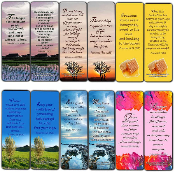 Bible Verses About the Tongue Scriptures Cards Bookmarks (30-Pack) - Handy Reminder About The Tongue Scriptures