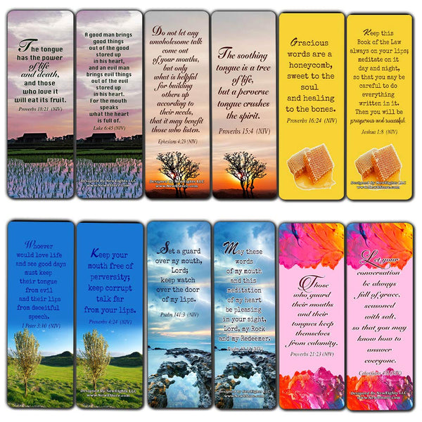 Christian Bookmarks Scriptures Cards (60-Pack) from NIV Bible - Speak Life Bible Verses About the Tongue- Religious Gifts for Men Women Teens Kids - God's Blessing Wisdom Devotional Book Markers