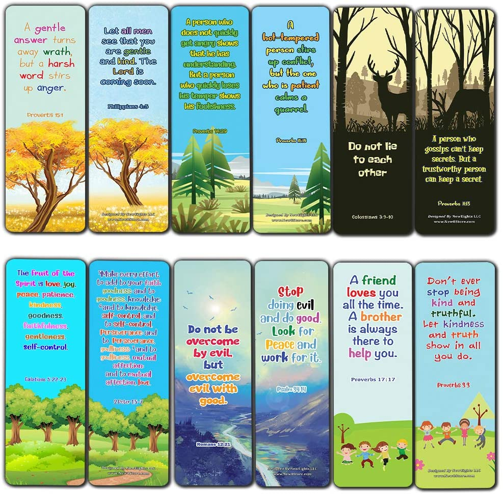 Bible Bookmarks for kids - Character Building Series 3 (30 Pack) - Well Designed for Kids with Easy To Memorize Bible Verses - Stocking Stuffers Devotional Bible Study Church Ministry Supplies