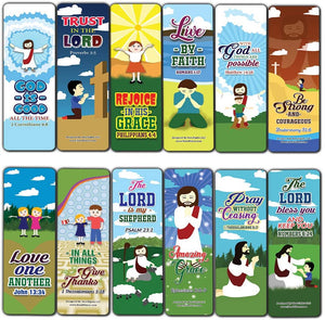 God is Good All The Time Bible Bookmarks for Kids (60-Pack) - Church Memory Verse Sunday School Rewards - Christian Stocking Stuffers Birthday Party Favors Assorted Bulk Pack