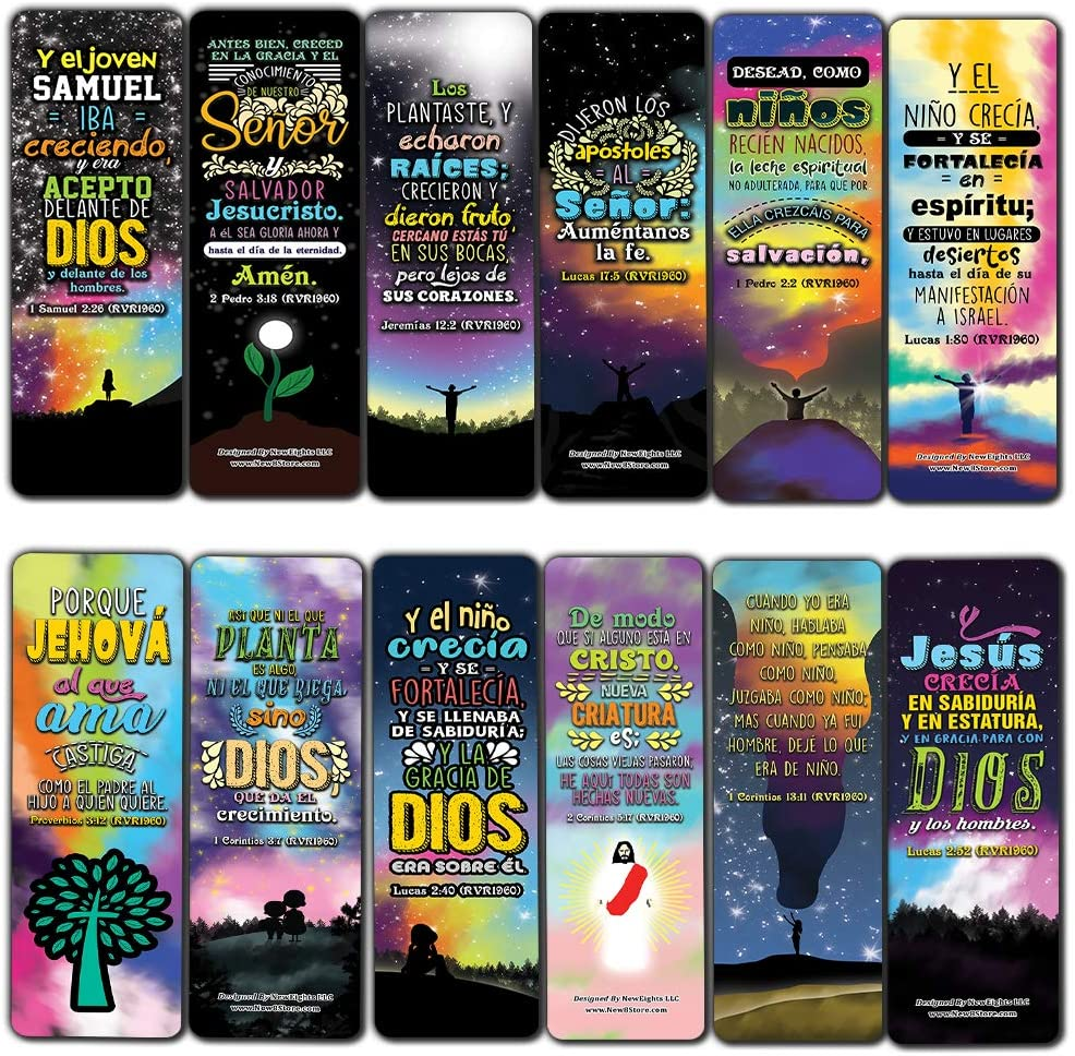 Spanish Spiritual Growth Bookmarks (60-Pack) - Church Memory Verse Sunday School Rewards - Christian Stocking Stuffers Birthday Party Favors Assorted Bulk Pack