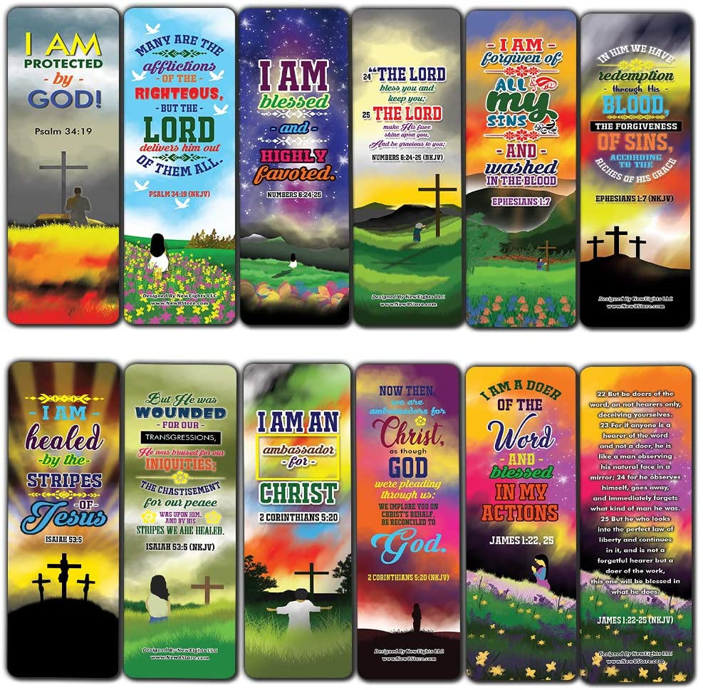 I AM Daily Declaration for Christian Bookmarks NKJV Series 3 (60-Pack) - Church Memory Verse Sunday School Rewards - Christian Stocking Stuffers Birthday Party Favors Assorted Bulk Pack