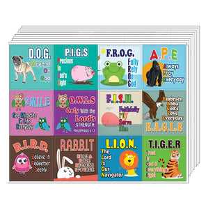 Christian Stickers for Kids (10 Sheets) - Character Building Bible Verses - Stocking Stuffers Party Favors Sunday School Rewards Teacher Classroom Incentive Birthday Homeschooling Scrapbooking Easter