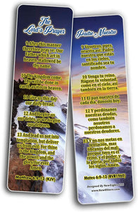 The Lord's Prayer Padre Nuestro English-Spanish Bilingual Bookmarks (60-Pack) - Church Memory Verse Sunday School Rewards - Christian Stocking Stuffers Birthday Party Favors Assorted Bulk Pack