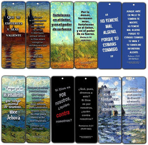 Spanish Christian Bookmarks Cards - Be Strong (30-Pack)- Jeremiah 29:11 Stocking Stuffers for Baptism, Youth Group, Cell Group, VBS Bible Study, Mission Trip - Best Church Supplies