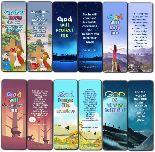 Christian Bookmarks for Kids - Encouraging God's Promises (60 Pack) - Perfect Gift away for Sunday School and Ministries - VBS Sunday School Easter Baptism Thanksgiving Christmas Rewards Encouragement