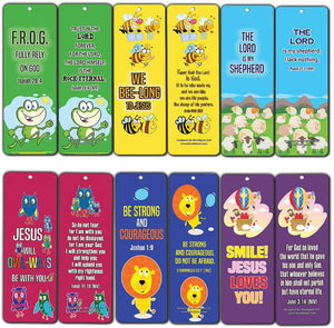 Bookmarks for Kids Children (60 Pack)- Animal Religious NIV Bible Cards - Lion Bee Frog Owl Sheep - John 3:16 Christian Gifts Wall Room Decor Homeschooling Scrapbooking Journal Art Craft