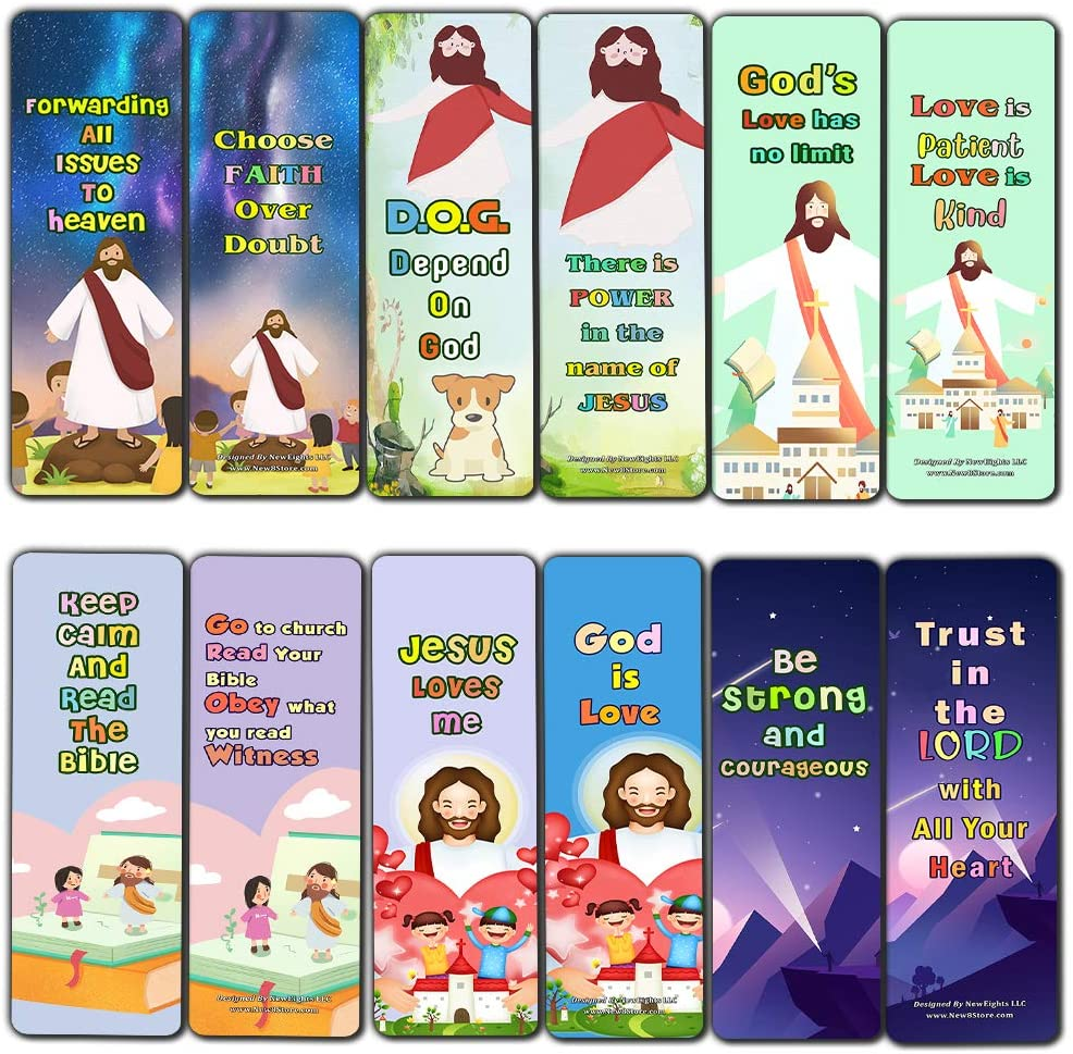 Christian Faith Bookmarks for Kids (60 Pack) - Perfect Gift away for Sunday School - Christian Stocking Stuffers Birthday Assorted Bulk Pack - Church Memory Verse Sunday School Rewards