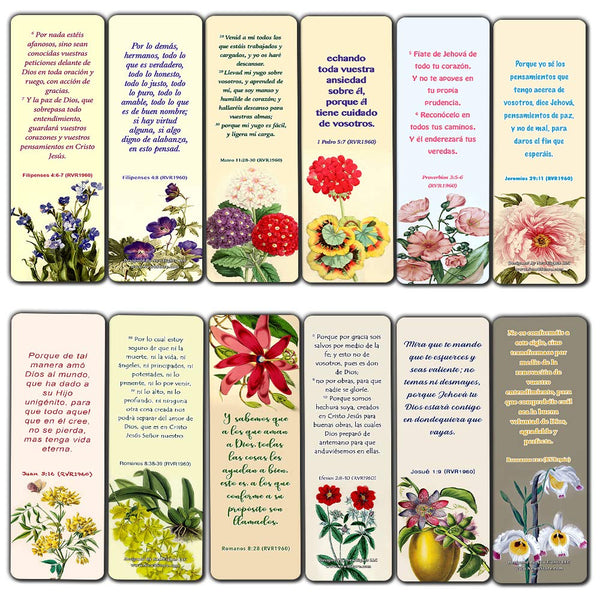 Spanish Flower Bookmarks Scriptures Series 1