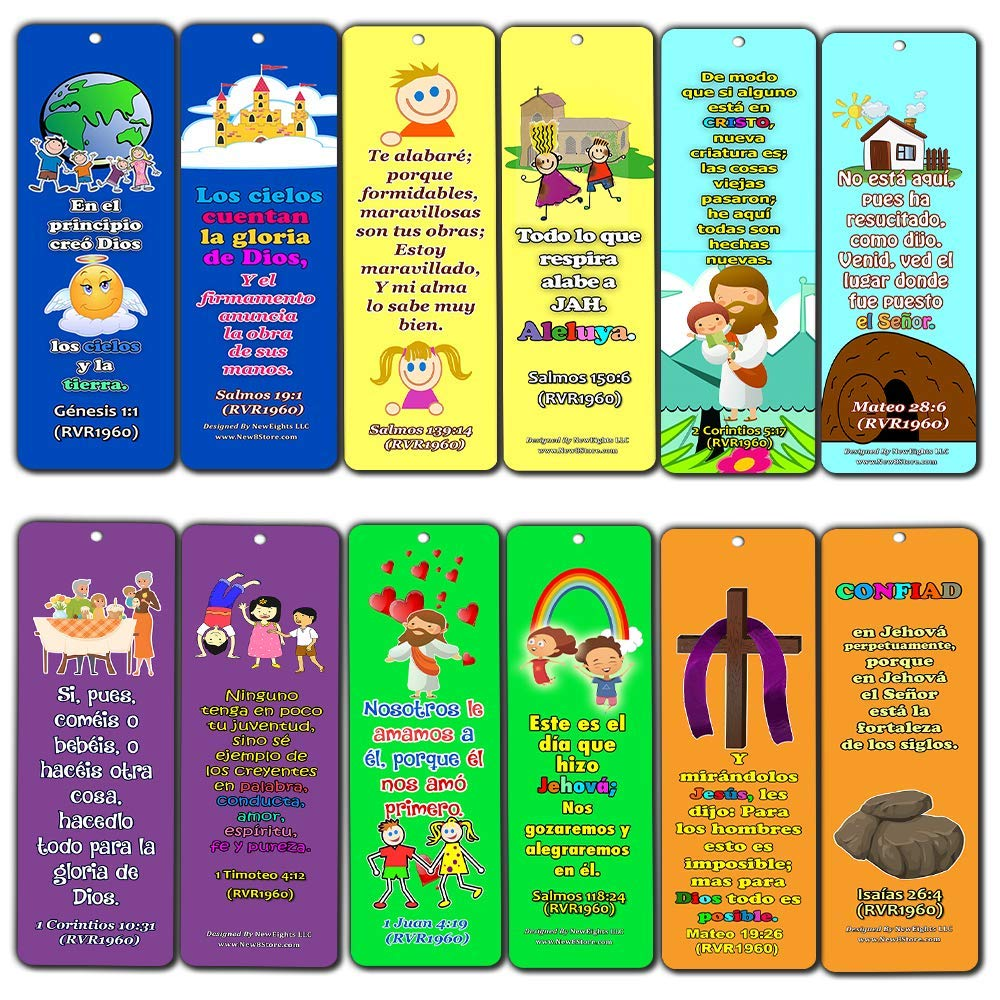 Spanish Powerful God Memory Verse Bookmarks