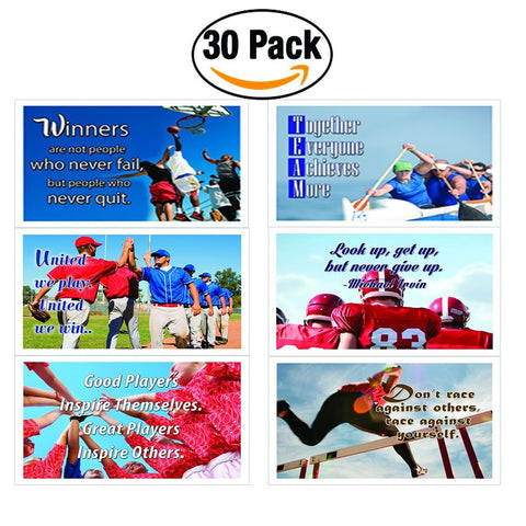 NewEights Sports Inspirational Quotes Postcards Set (30-Pack)
