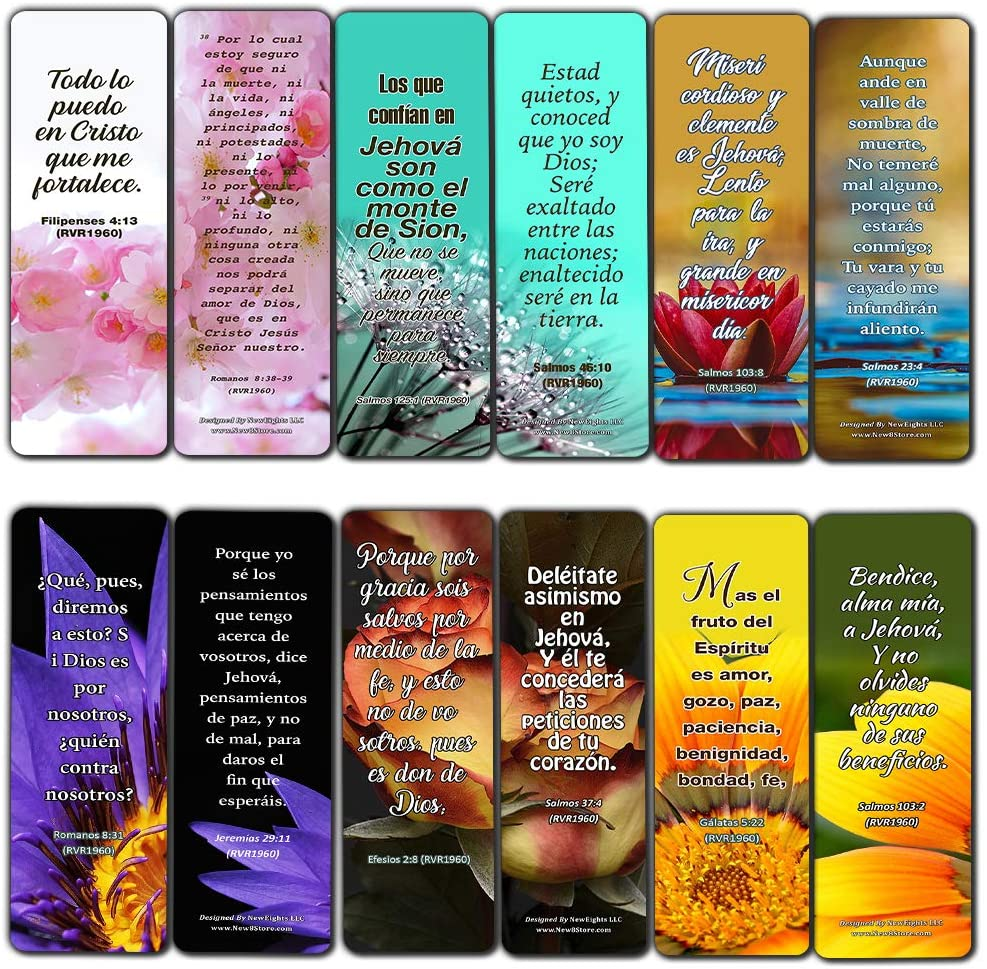Spanish Christian Faith Scripture Bookmarks RVR1960 (60-Pack) - Great Giveaways for Ministries and Sunday Schools