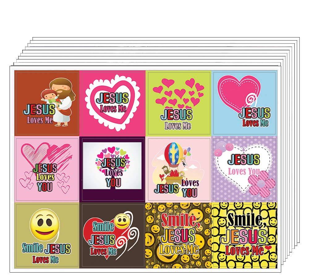Jesus Loves You Stickers (10-sheets) - Christian Stocking Stuffers for Kids, Boys, Girls - Great Gifts for Party Favors, Sunday School Easter Thanksgiving Christmas Children Day Classroom Rewards