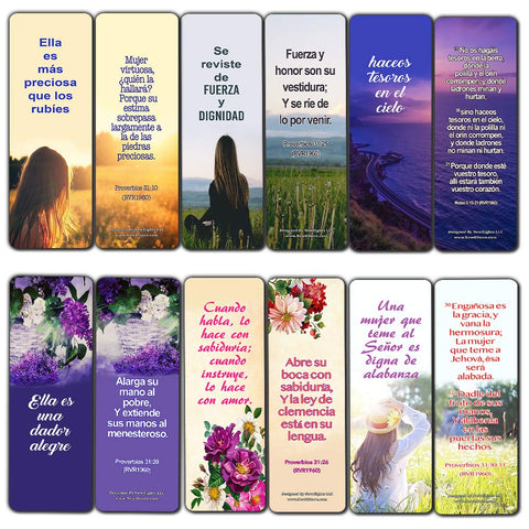Spanish Bible Verses About Virtuous Woman Bookmarks