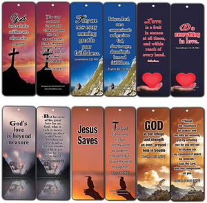 Popular Bible Verses about God's Love Bookmarks Cards (60-Pack) - Assorted Bulk Pack - John 3:16 Psalm 46:1 - Gift Ideas for Sunday School, Youth Group, Church Camp, Bible Study, Baptism, Homeschool
