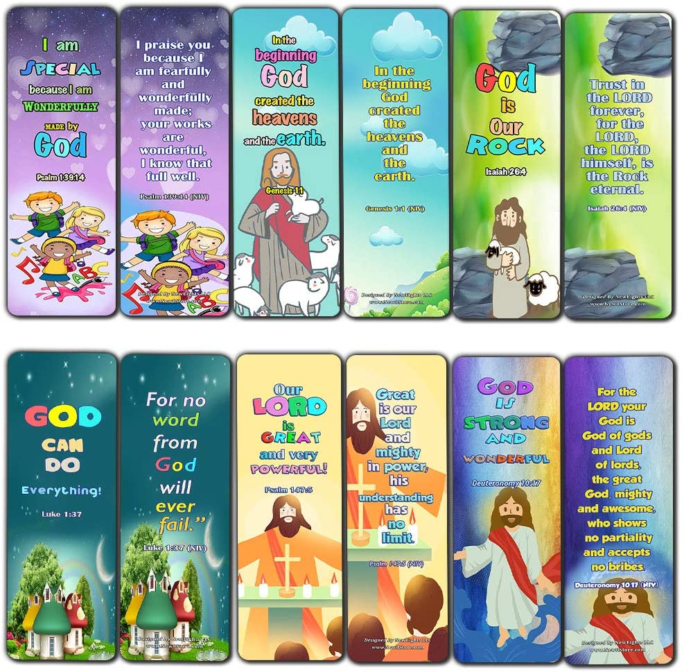 Powerful God Bible Verse Bookmarks for Kids (60 Pack) - Bible Verses About God?s Power That Are Simple and Easy for Kids to Memorize