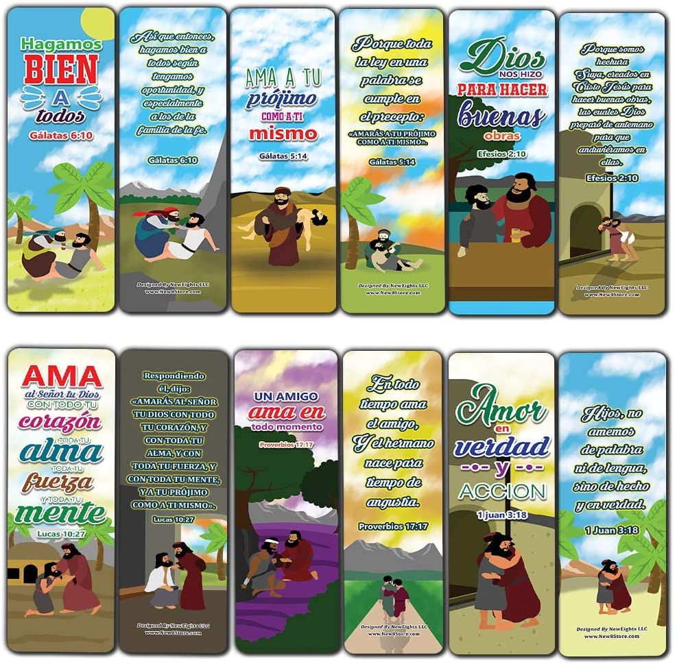 Spanish The Good Samaritan Christian Bookmarks Cards (60-Pack) - Church Memory Verse Sunday School Rewards - Christian Stocking Stuffers Birthday Party Favors Assorted Bulk Pack