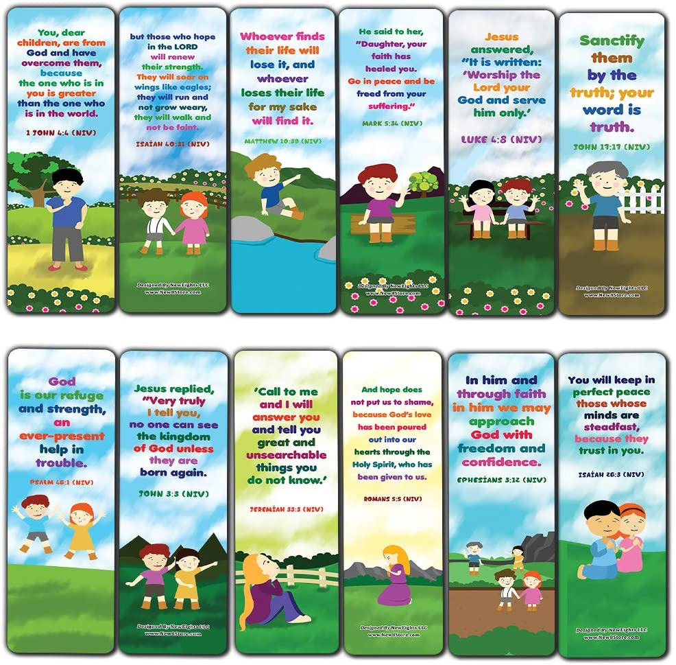 Christian Affirmations Bible Verses for Kids Cards (60-Pack) - Church Memory Verse Sunday School Rewards - Christian Stocking Stuffers Birthday Party Favors Assorted Bulk Pack