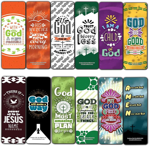 Inspirational Encouragement Christian Quotes Bookmarks Series 3 (60-Pack) - Church Memory Verse Sunday School Rewards - Christian Stocking Stuffers Birthday Party Favors Assorted Bulk Pack
