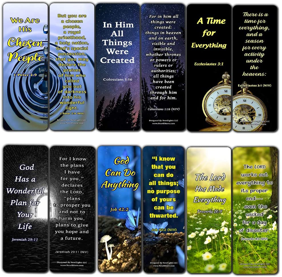 Scriptures Bookmarks - Bible Verses about Strength (60 Pack) - Perfect Gift away for Sunday School and Ministries - Christian Stocking Stuffers Birthday Assorted Bulk Pack